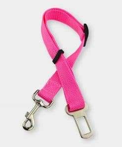 adjustable cat seat belt tethe pink
